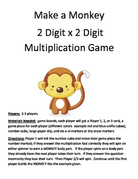 Make a Monkey Multiplication 2 Digit x 2 Digit Game