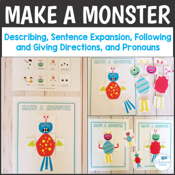 Make a Monster Speech Therapy - Pronouns, Attributes, Following Directions!