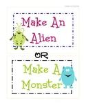 Make a Monster or Make an Alien Art Game Activity 4 Class, Parties, After School