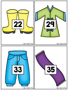 Make a Number Line - Numbers to 100 - Winter Clothes Set