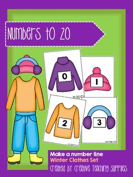 Make a Number Line - Numbers to 20 - Winter Clothes Set