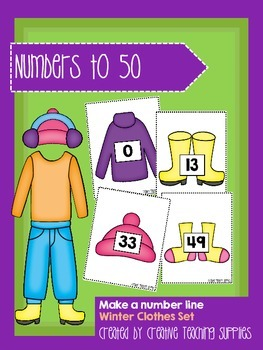 Make a Number Line - Numbers to 50 - Winter Clothes Set
