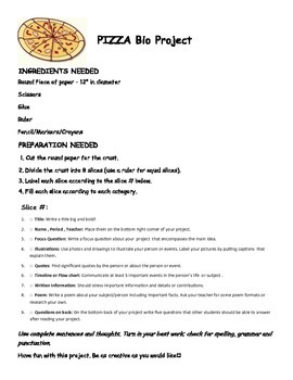 Research Biography Project Make a Pizza
