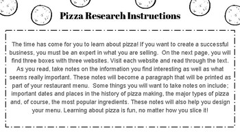 Create a Pizza Shop Project: Math and ELA CCSS Aligned