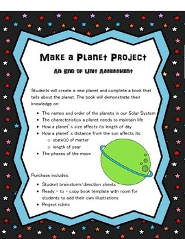 Space and Solar System Unit Assessment: Make a Planet