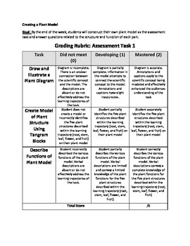 Make a Plant Diagram NGSS Assessment Task (LS.1A)