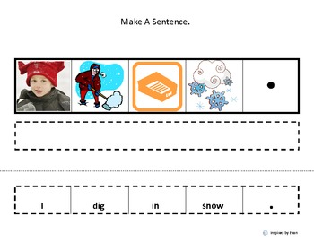 "Make a Sentence About ""Snow"" /Cut and Paste for Autism"