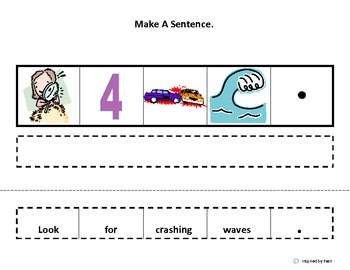 "Make a Sentence About ""The Beach"" Cut & Paste for Autism"