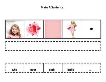 "Make a Sentence About the Color ""Pink""/Cut and Paste for Autism"