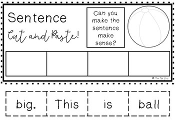Make a Sentence Cut & Paste Activity Worksheet