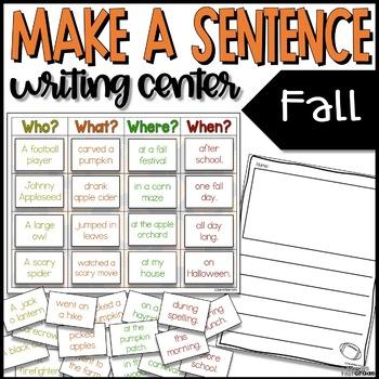 *SALE!* Make a Sentence Writing Center - Fall