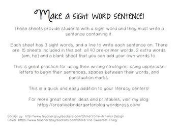 Make a Sight Word Sentence