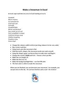 Make a Snowman in Microsoft Excel