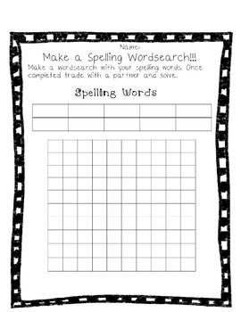 Make a Spelling Wordsearch!