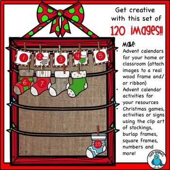 Make a Stocking Advent Calendar Clip Art Set - Chirp Graphics