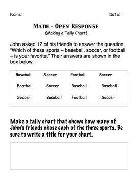 Make a Tally chart of favorite sport -Open response