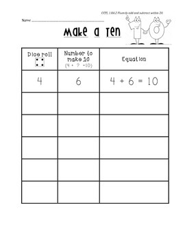 Make-a-Ten Dice Game