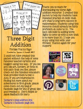 Three Digit Addition Printables for Firsties {CCSS Aligned}