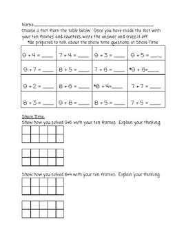 Make a Ten Strategy (Using Ten, Adding 7, 8, 9)  (2.OA.2)