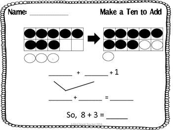 Make a Ten to Add Worksheets by A 1st Grade Teacher | TpT