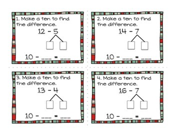 Make a Ten to Find the Difference Task Cards