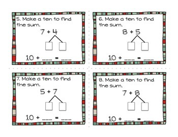 Make a Ten to Find the Sum Task Cards