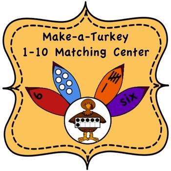 Make a Turkey:  1-10 Number Match Center