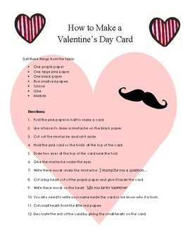 Make a Valentine's Day Card--Functional Reading Activity