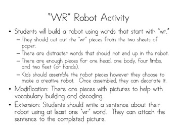 """Make a """"WR"""" Robot: Differentiating between WR and R spelling patterns"""