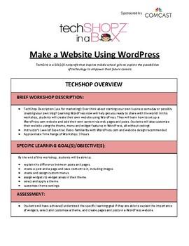 Make a Website Using WordPress - TechGirlz Workshop Plan