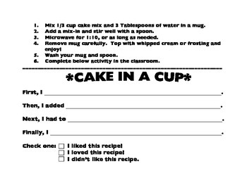Make a cake-in-a-cup! Fun sequencing activity!