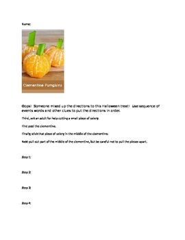 Make a fun, healthy, Halloween treat while practicing sequence of events words