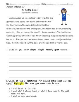 Make an Inference: It's the Big Game! short story