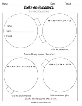 Make an Ornament: Solving Equations
