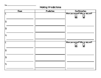 Make and Confirm Predictions Graphic Organizer