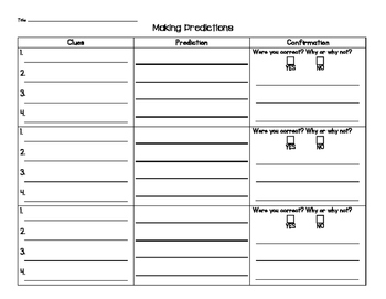 Make and Confirm Predictions Graphic Organizer