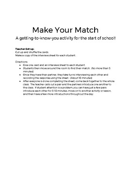 Make and Introduce Your Match