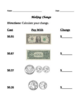 Make change from 1 dollar