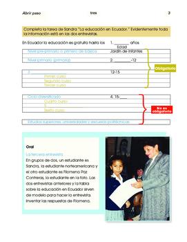School life in Ecuador / The Otavalo market; 2 thematic units - SP Inter. 1