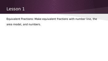 Make equivalent fractions using number lines, area models,