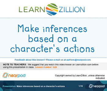 Make inferences based on a character's actions