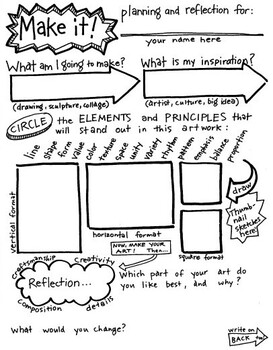 Make it! Planning and reflection sheet for Art