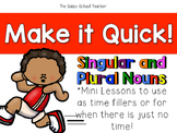 Make it Quick!  Singular and Plural Nouns
