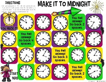 printable time telling game new year s activity telling time printable 5294