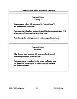 Make or Break Spring Novel Study Guide