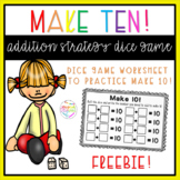 Make ten! Addition strategy dice worksheet NO PREP
