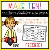 Make ten! Addition strategy dice worksheet NO PREP