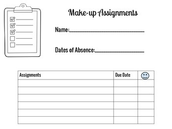 Make-up Assignment form
