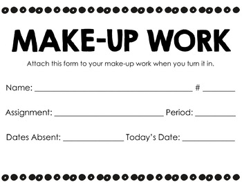 Make-up Work Student Form