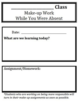 Make-up Work While You Were Absent